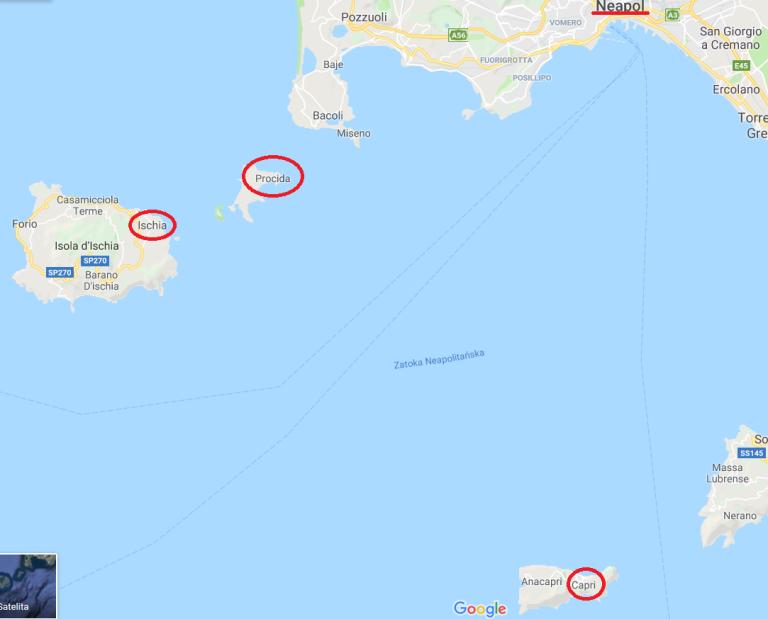 mapa Neapol i wyspy
